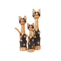 Trio de Gatos entalhados a mão