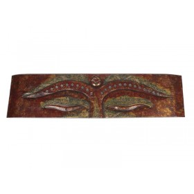 Painel Olhos de Buda Rococo Vermelho Gold 100 X 25cm
