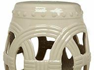 Garden Seat de Cerâmica com circulos cor Marfim
