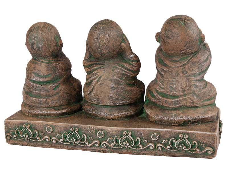 Trio de Budas da Sabedoria em Pedra