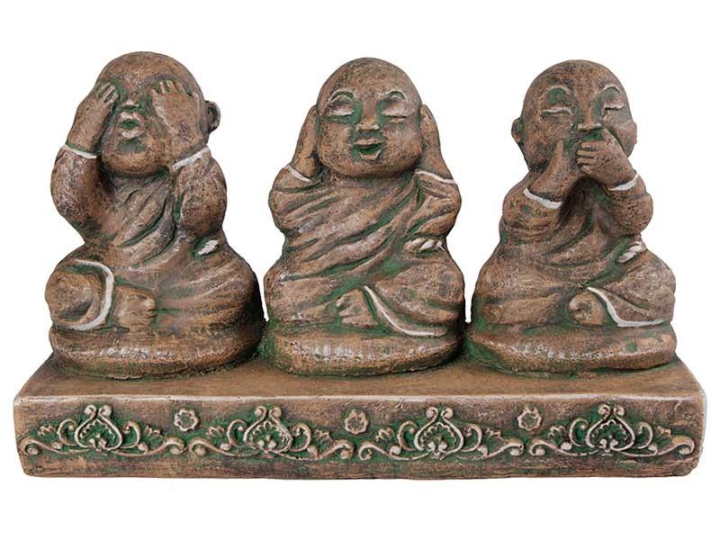 Trio de Budas da Sabedoria Green