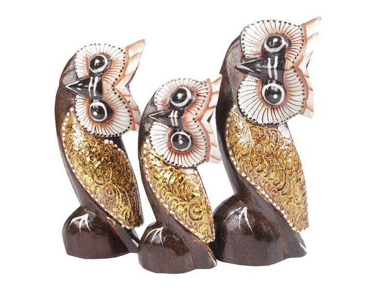Trio de Corujas dourado 20 17 14 cm