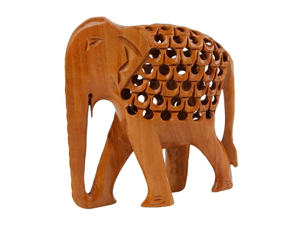 Elefante em Madeira Natural