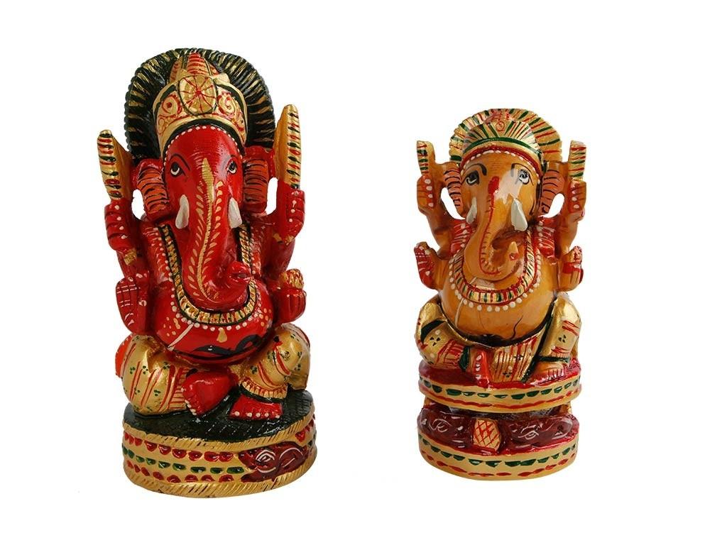 Esculturas de Ganesha em Madeira