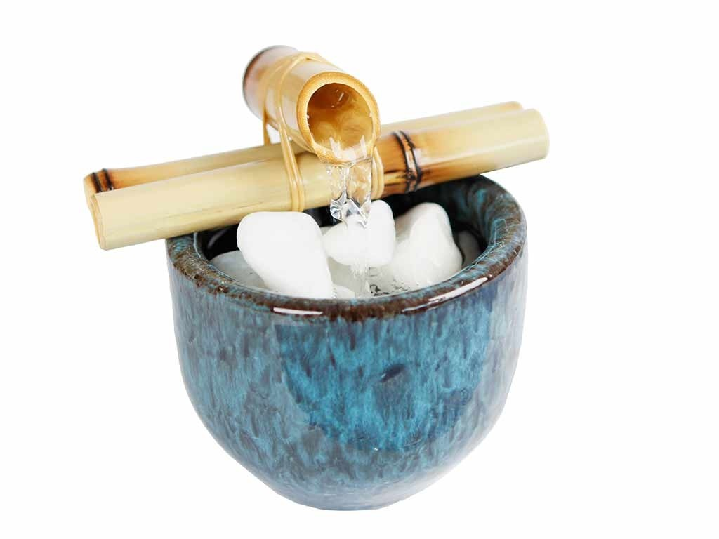 Vaso Fonte com Pedras e Bambu