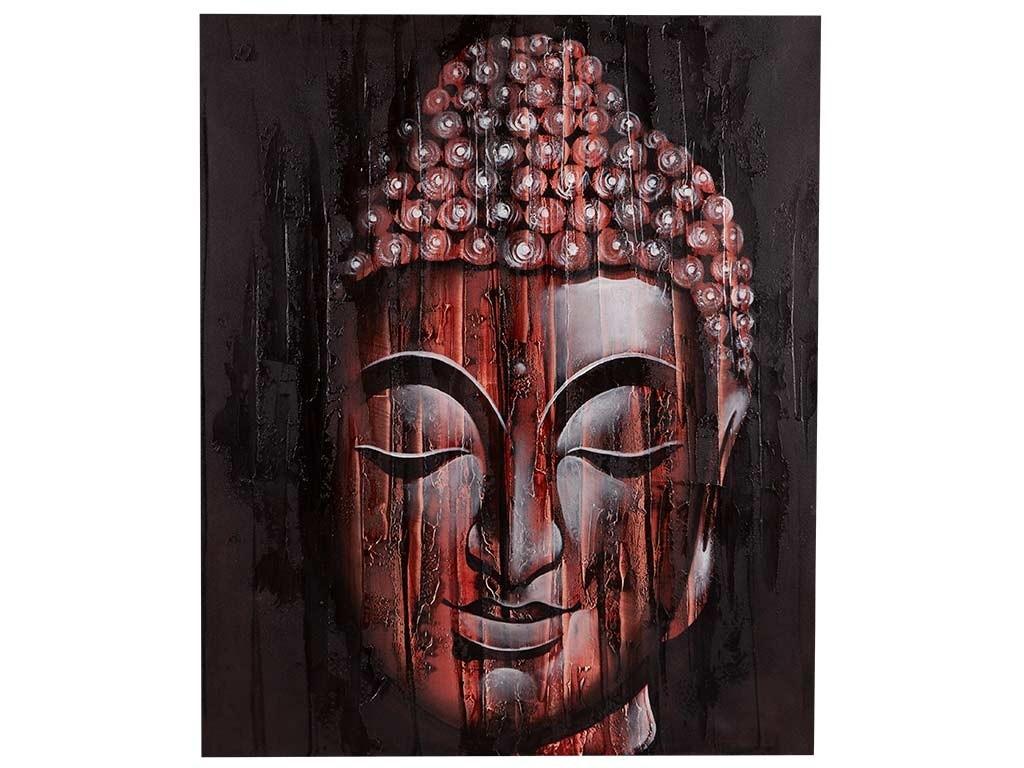 Quadro com Rosto do Buda em Vermelho