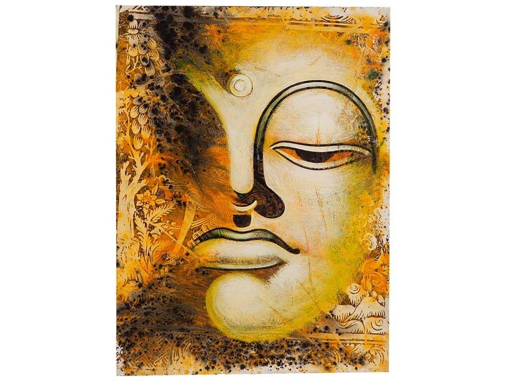Quadro com Rosto do Buda em Amarelo