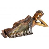 Buda Deitado de Madeira