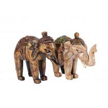 Esculturas de Elefantes em Madeira