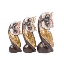 Trio de Corujas Sexy cru com dourado 20 17 14 cm