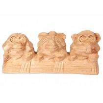 Trio de Macacos da Sabedoria em Madeira