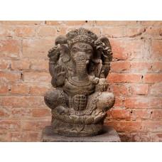 Escultura de Ganesha Sentado em Pedra