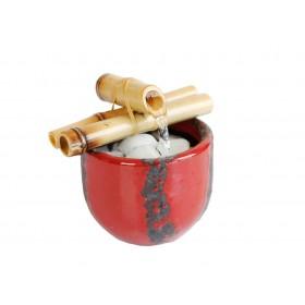 Fonte de Água Vaso com Bambú Vermelha