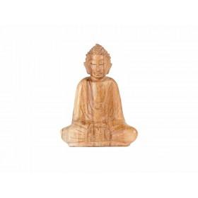 Escultura Buda em Madeira Sentado Suar