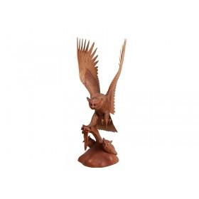 Estátua Coruja em Madeira Voando