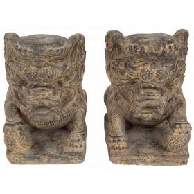 Dupla de Esculturas Foo Dog em Pedra