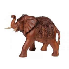 Elefante em Madeira Manto Entalhado 40cm
