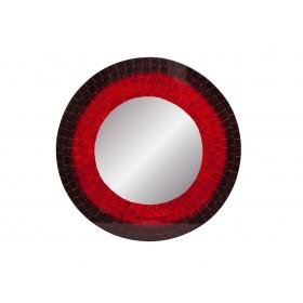 Espelho Redondo em Mosaico 50cm VERMELHO