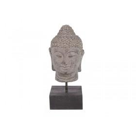 Cabeça de Buda em Pedra no Pedestal 20 cm