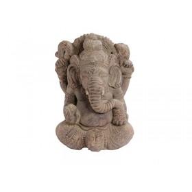 Ganesha em Pedra com Barong Entalhado