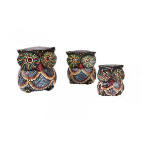 Trio de Corujas Aborígenes 10 8 7 cm