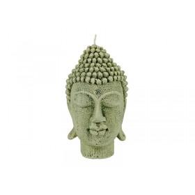 Vela Decorativa Cabeça de Buda Verde