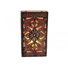 Arandela metal renda arabesco rabat laranja 22 X 40 cm