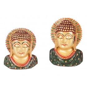 Busto Buda Indiano Manto Verde