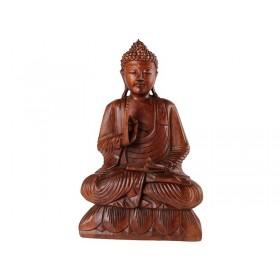 Estátua Buda Sentado Madeira 50cm