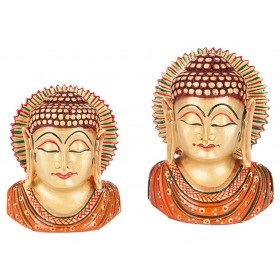 Busto Buda Indiano Manto Laranja