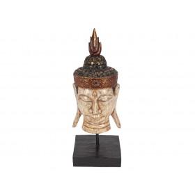 Pedestal Cabeça de Buda Branca 55cm