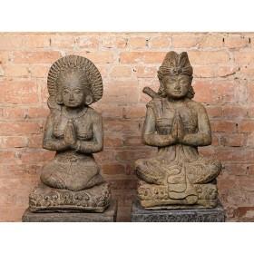 Estátua de Balineses em Pedra Casal de 60cm