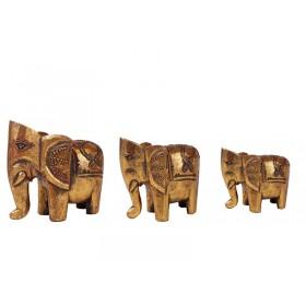 Elefante Madeira Dourado Indiano