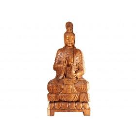 Estátua Kuan Yin em Madeira 1mt