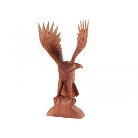 Estátua Águia Madeira Suar 60cm
