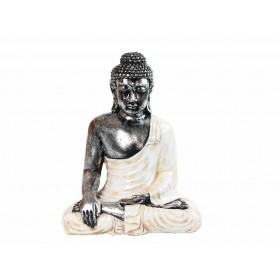Estátua de Buda 30cm Prateado