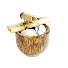 Fonte de Água Vaso com Bambú Amarelo