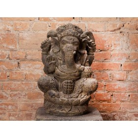 Ganesha Lótus em Pedra