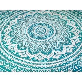 Manta Decorativa Mandala Turquesa
