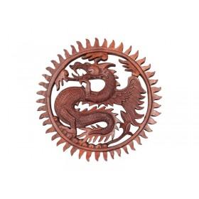 Mandala Dragão Oriental de Madeira