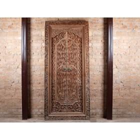 Porta Entalhada Antiga Madeira Teca