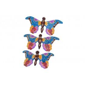 Trio de Borboletas multicolor 19 15 13 cm