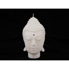 Vela Decorativa Cabeça de Buda Branca